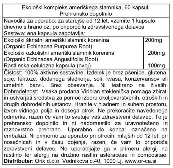 Ekološki kompleks ameriškega slamnika (60 kapsul)