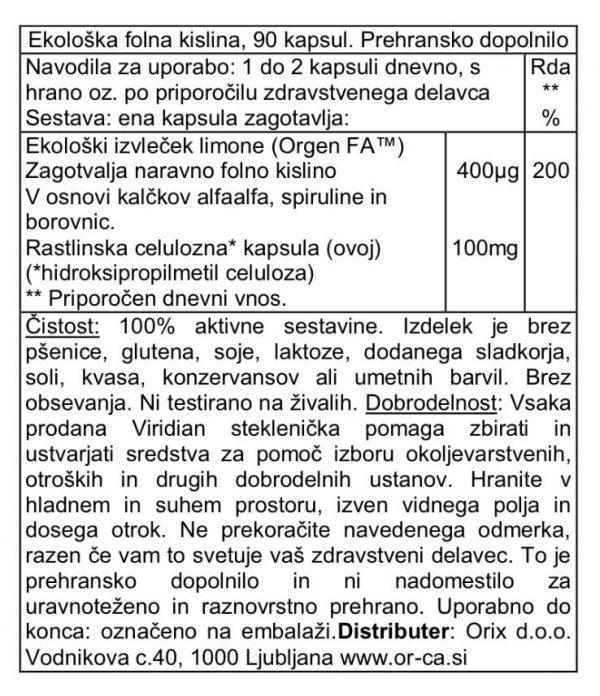 Ekološka folna kislina (90 kapsul)