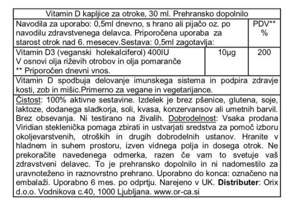 Vitamin D3 kapljice za otroke, 30ml