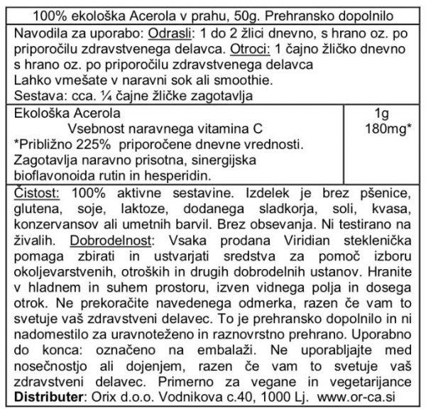 Ekološka acerola (vit C) v prahu, 50g