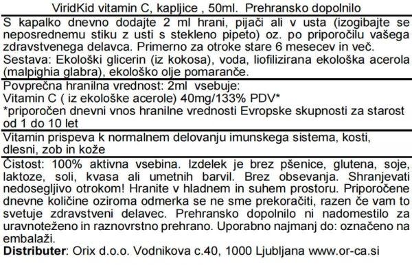 Ekološke vit C kapljice za otroke iz acerole, 50ml