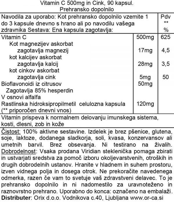 Vitamin C s cinkom, 90 kapsul